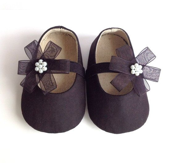 Black Baby Shoes Girl Booties Flower
