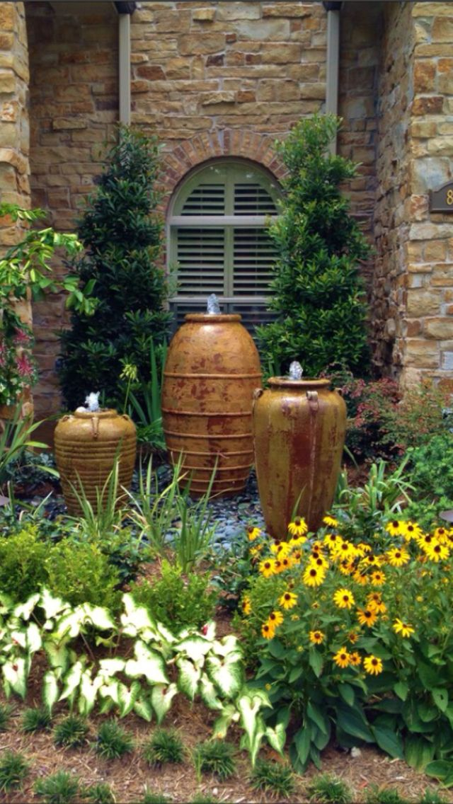 Water feature for the front back yard yard pinterest for Front garden features