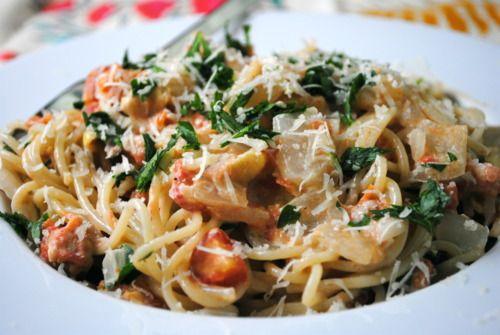 Spaghetti with Creamy Tomatoes and Artichoke Hearts (will use veg ...