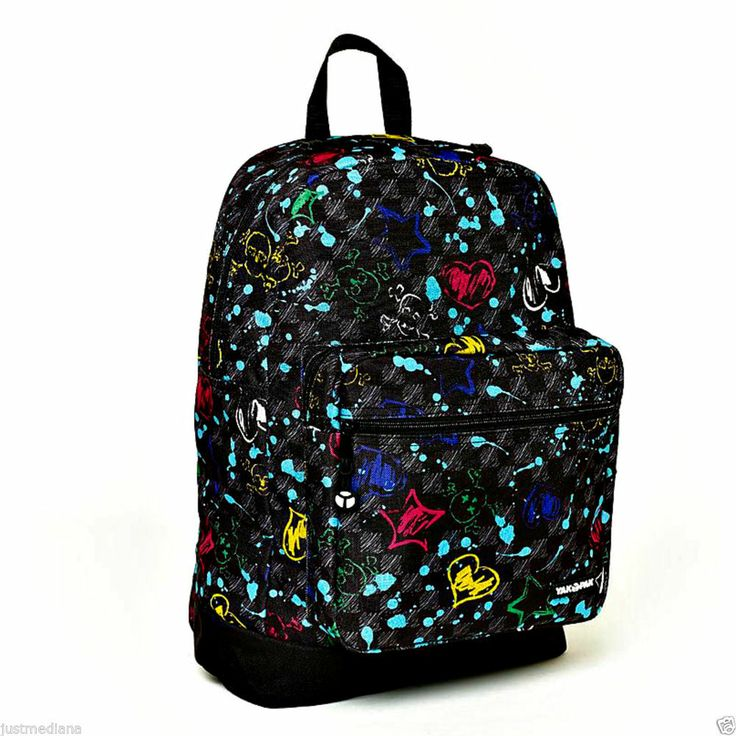 - Yak Pak Girl's Deluxe Backpack - Black Colorful Punk Rock - School ...