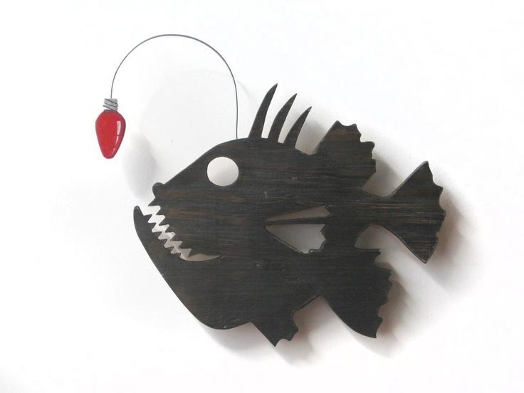Angler fish christmas decor beach wood sign cottage for Angler fish toy