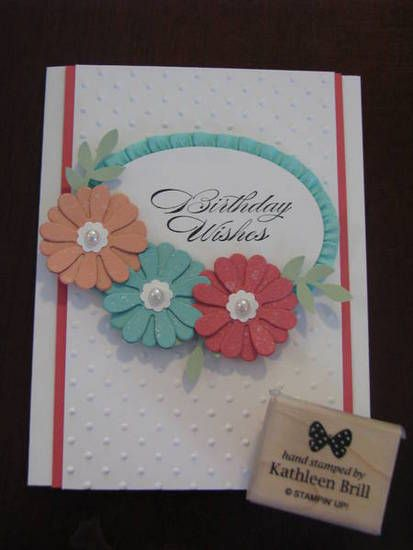 Stamps: Bring on the Cake Inks: Stazon black Papers: 2013-2015 In Colors, whisper white Accessories: Oval framelit, Blossom Party Originals, bird builder punch, stretch ruffle trim. pearl accent,