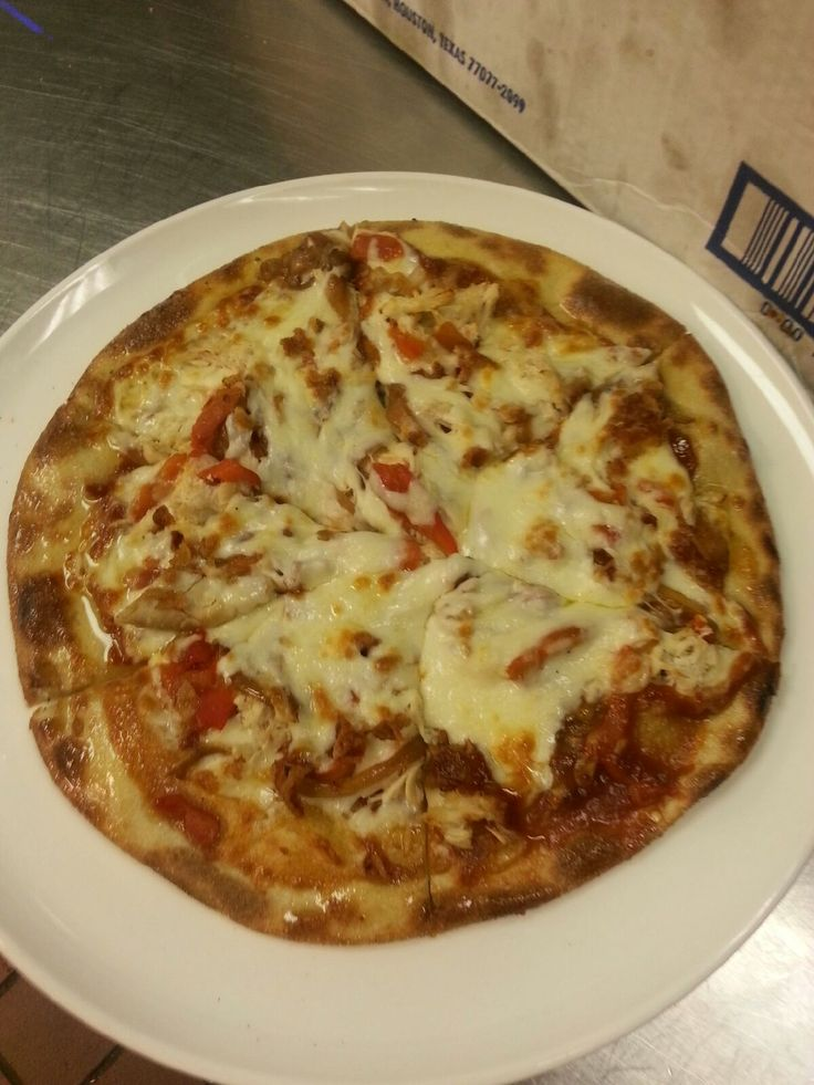 Barbequed Chicken Pizza with caramelized onions, roasted peppers and ...