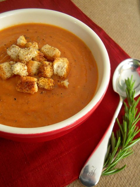 Roasted Tomato Soup with Spicy Croutons | Soups | Pinterest