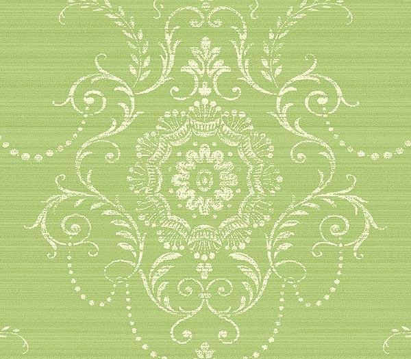 green large damask wallpaper