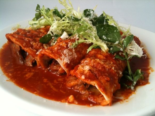 ... enchiladas with garlicky red chile sauce, frisee, watercress, queso