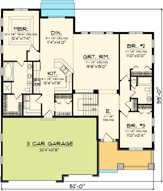 Craftsman ranch home plan Split bedroom house plans