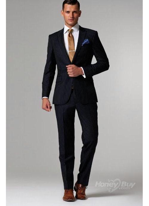 Blue suit, brown shoes