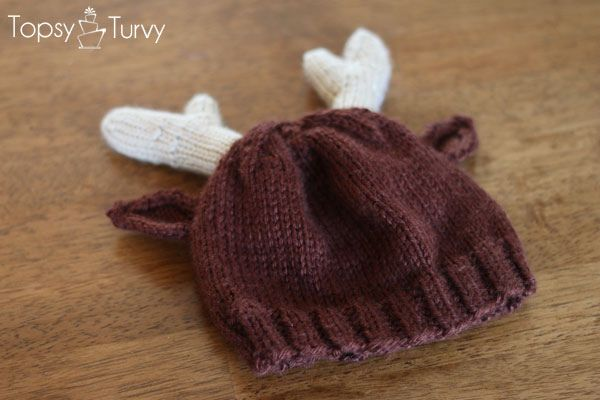 Knitting Pattern For Reindeer Hat : Knit Reindeer Beanie
