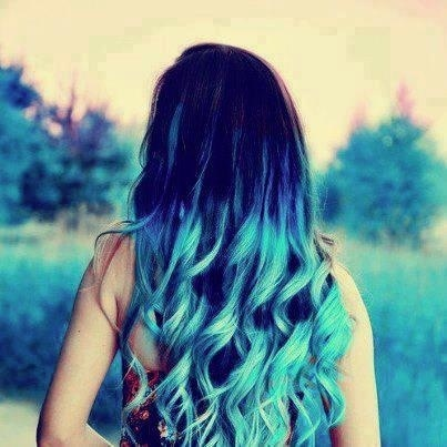 electric blue dip dye blue hair pinterest