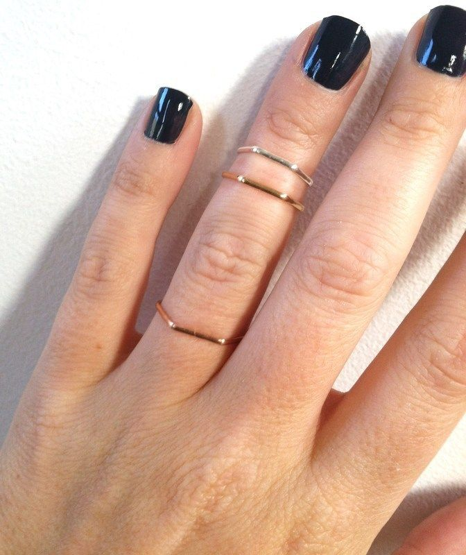 3 Hexagon Layering Mid Knuckle Rings