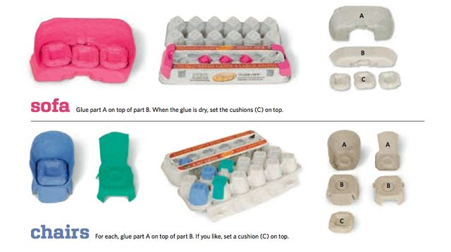 Diy dollhouse furniture from egg carton dollhouse for Homemade furniture instructions