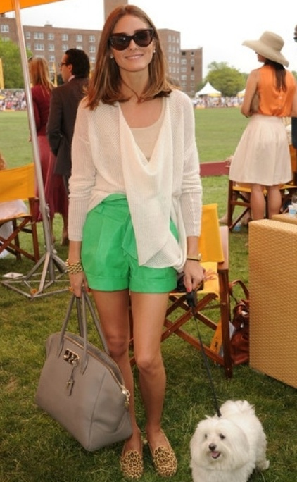 Olivia Palermo in green shorts - love the leopard shoes (just got a replica at Forever 21) ;-)