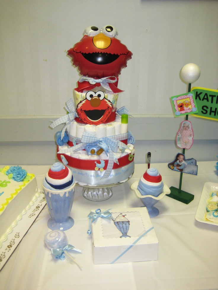 diaper cake sesame street baby shower centerpieces favors