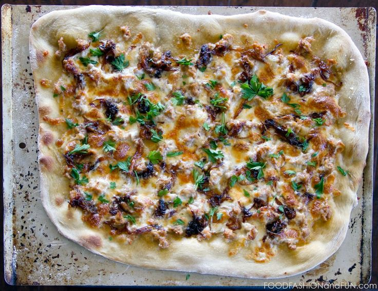 sausage, caramelized onion, pizza, cheese, food blogger, lifestyle ...
