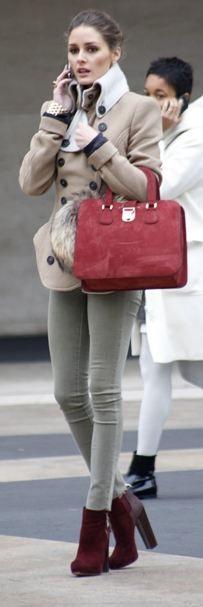denim pants warm gray coat long boots with handbag