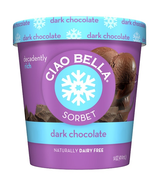 dark chocolate sorbet by Ciao Bella - decadently rich.