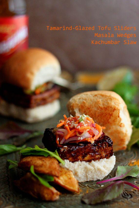 Tamarind Glazed Tofu Sliders/Burgers with Carrot Cucumber Slaw