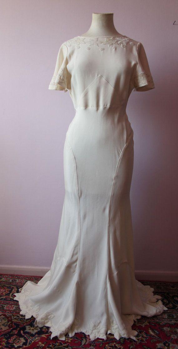 Silk Wedding Dress 20s 30s Art Deco Style Ivory Silk Size 10