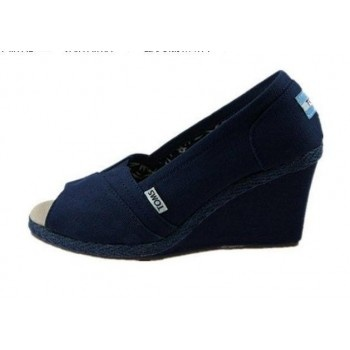 Toms Shoes Navy Canvas Womens Wedges - THE PERFECT COMFORTABLE WEDDING