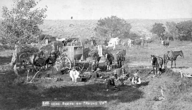 Late 1800s Cowboys Eating at Chuckwagon