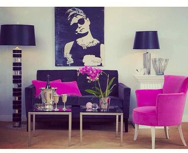 black and pink living room