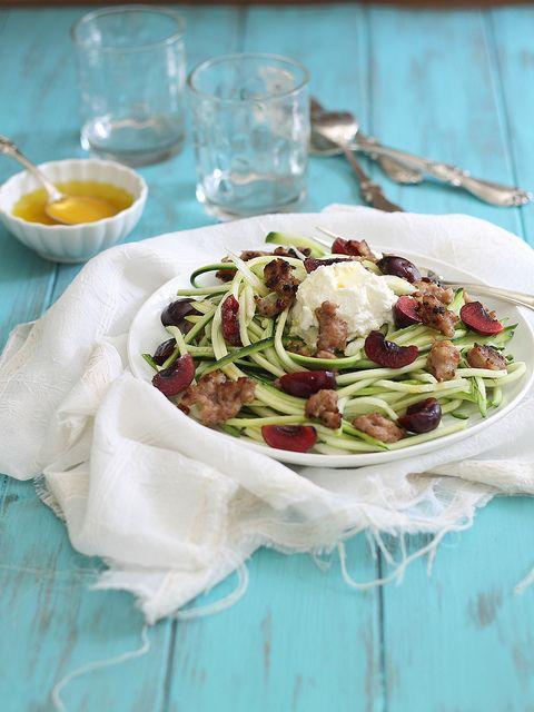 Zucchini pasta with sausage, cherries & ricotta | runningtothekitchen ...