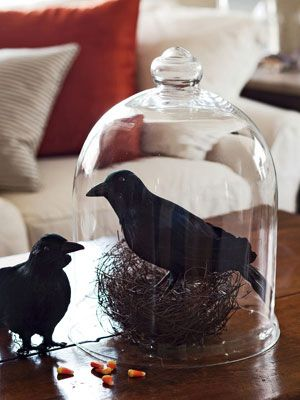 Two crows and a bell jar.