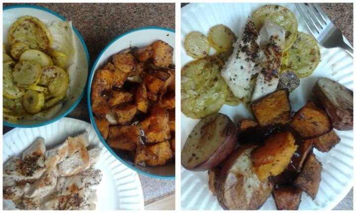 sauteed pesto summer squash. roasted butternut squash with balsalmic ...