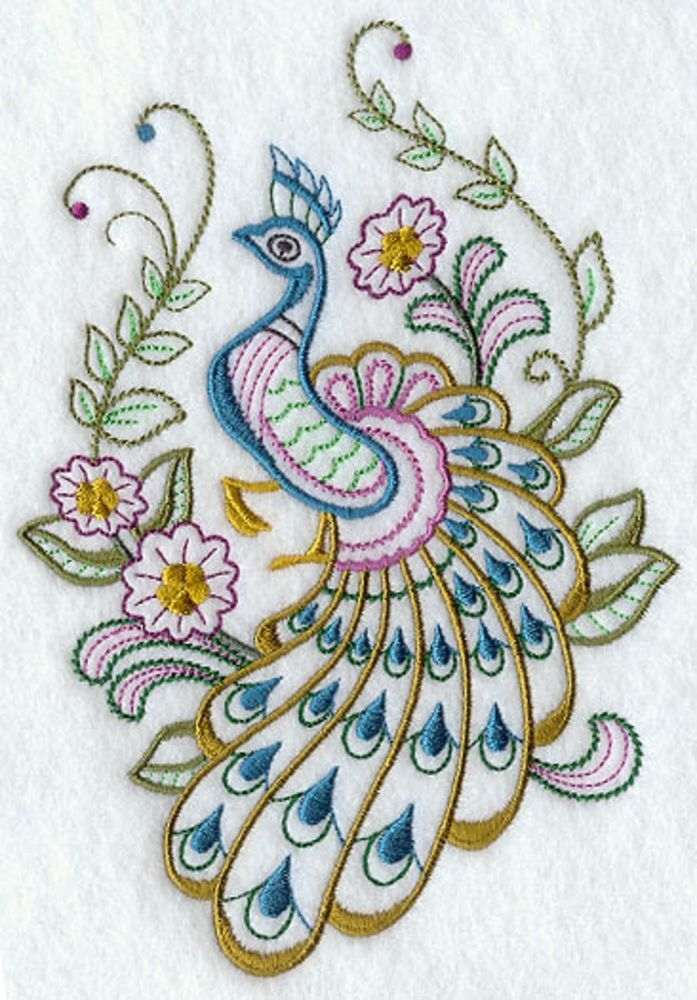 Peacock Simple Stitch Embroidered Fabric Quilt Block Square