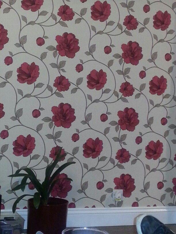 red flower wallpaper living room pinterest