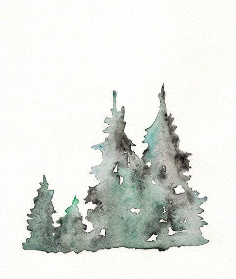 Winter s edge winter trees watercolor print