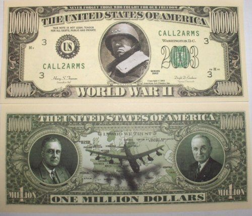 Set of 10. WWII... $1000000 Bill