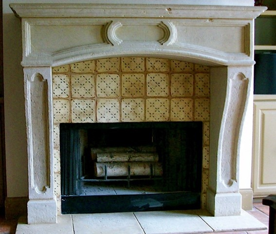 fireplace with tabarka tile