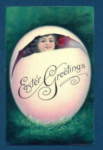 P1339 Easter Greeting postcard, Woman in egg
