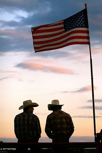 Cowboys, sunset, and American Flag, you can't beat it!