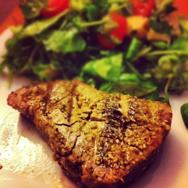 Sesame Crusted Tuna Steak On Arugula Recipe — Dishmaps
