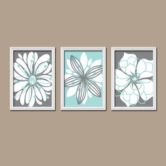 Wall Art Canvas Artwork Charcoal Gray Aqua Blue Flower