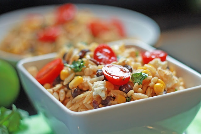 southwestern orzo salad with chili-lime vinaigrette