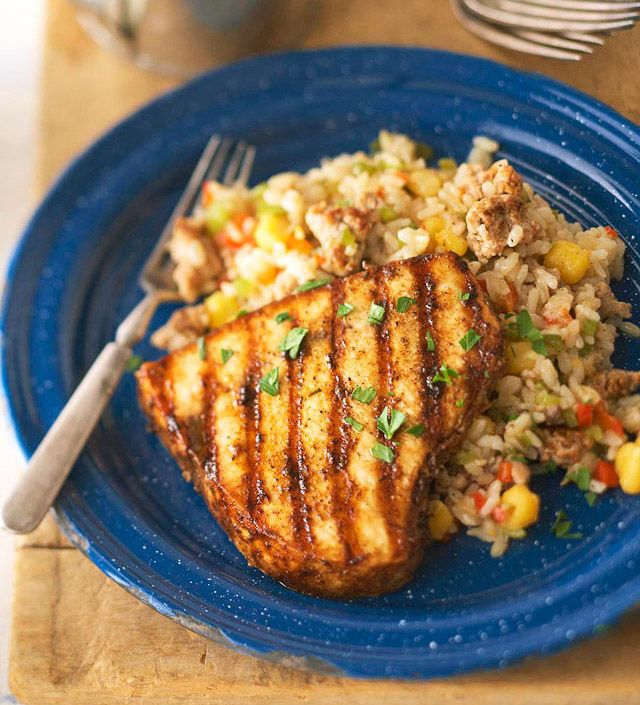 Blackened Swordfish with Hominy Dirty Rice from the Better Homes and ...