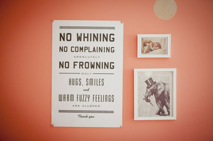 """This """"No Whining"""" poster (from @Urban Outfitters) is so fantastic in the nursery! #walldecor #nursery"""
