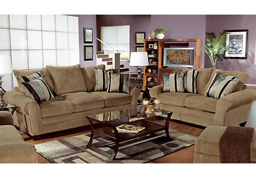 Jersey taupe7 pc living room at rooms to go find living room sets