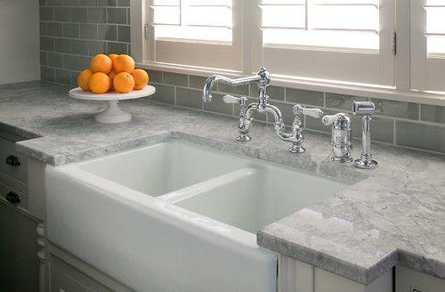 ... countertops with double basin farmhouse sink. Subway tile backsplash