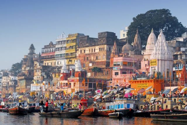 Colorful Main Ghat In Varanasi People And Places India Pinterest