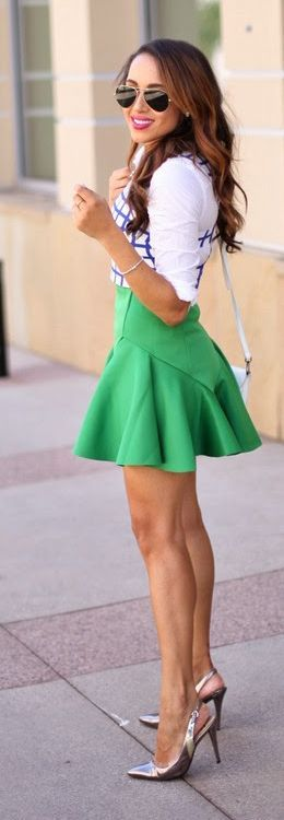 Green A-line Ruffle Hem Mini Skirt