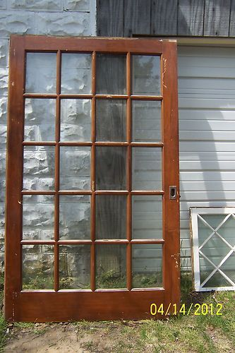 Interior Slide Stained Slab Door 48 Wide With 20 Panes Of Glass