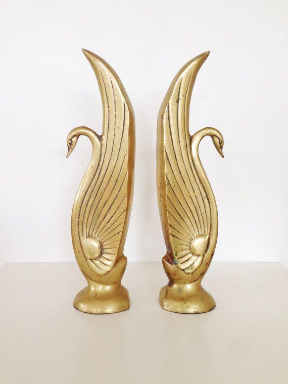 vintage hollywood regency brass swan bookends