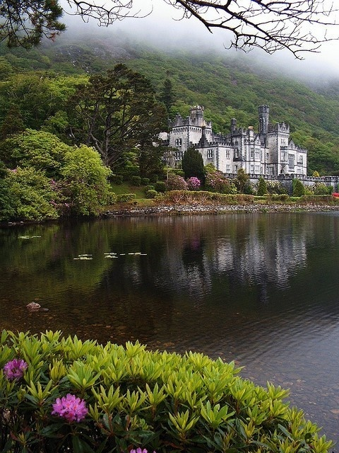 Kylemore Abbey, Co. Galway, Ireland - a magical mountainside place.  Once a castle, now a Benedictine nunnery (founded in 1920), just off N59 in the northwestern Irish countryside (right near the entrance to Connemara National Park).