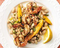 Grilled Lemon Tarragon Shrimp & Cannellini Bean Salad