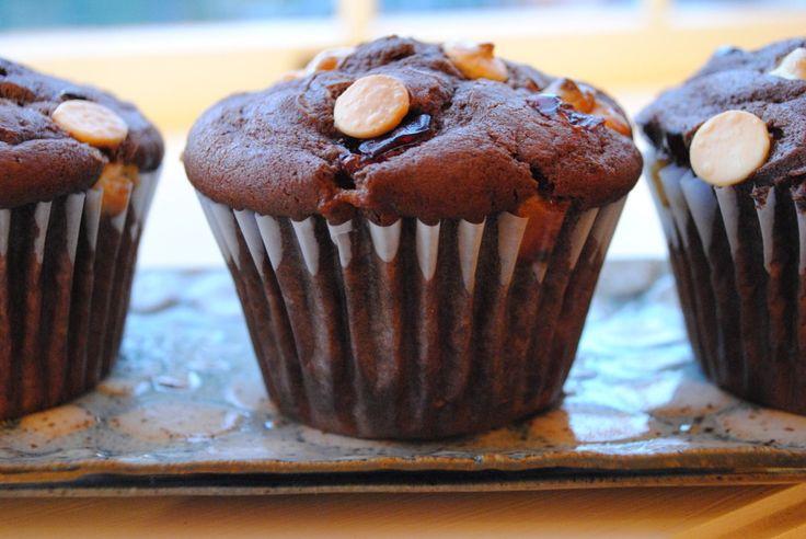 Chocolate Muffins with White Chocolate and Dried Cherries | Recipe